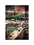 "Road Traffic on ""59th Street Bridge"" (Queensboro Bridge), Manhattan Downtown, NYC, White Frame Photographic Print by Philippe Hugonnard"