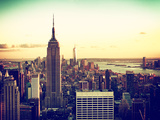 Sunset Skyscraper Landscape, Empire State Building and One World Trade Center, Manhattan, New York Reproduction photographique par Philippe Hugonnard