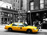Urban Scene, Yellow Taxi, Prince Street, Lower Manhattan, NYC, Black and White Photography Colors Photographic Print by Philippe Hugonnard