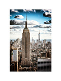 Cityscape, Empire State Building and One World Trade Center, Manhattan, NYC, White Frame, Vintage Photographic Print by Philippe Hugonnard