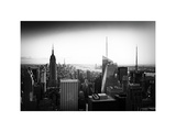 Skyline at Sunset, Empire State Building, Manhattan, US, White Frame, Old Black and White Photographic Print by Philippe Hugonnard