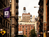 Architecture and Buildings, Greenwich Village, Nyu Flag, Manhattan, New York City, US, Vintage Photographic Print by Philippe Hugonnard
