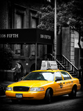 Yellow Taxis, 108 Fifth Avenue, Flatiron, Manhattan, New York City, Black and White Photography Photographic Print by Philippe Hugonnard