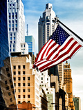 Architecture and Buildings, Skyscrapers View, American Flag, Midtown Manhattan, NYC, US, USA Photographic Print by Philippe Hugonnard