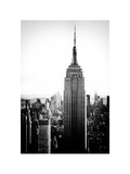 Empire State Building from Rockefeller Center at Dusk, Manhattan, NYC, Old Black and White Photographic Print by Philippe Hugonnard