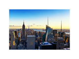 Skyline at Sunset, Empire State Building, Manhattan, US, USA, White Frame, Full Size Photography Photographic Print by Philippe Hugonnard