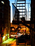Stairway by Night, Fire Escapes, Street Manhattan, New York, United States Photographic Print by Philippe Hugonnard