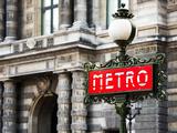 Classic Art, Metro Sign at the Louvre Metro Station, Paris, France Fotodruck von Philippe Hugonnard