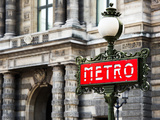 Classic Art, Metro Sign at the Louvre Metro Station, Paris, France Fotografiskt tryck av Philippe Hugonnard