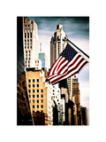 Skyscrapers View, American Flag, Midtown Manhattan, NYC, White Frame, Vintage Colors Photographic Print by Philippe Hugonnard