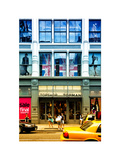 Urban Scene, Yellow Taxi, Topshop Front, Broadway, Manhattan, New York, White Frame Photographic Print by Philippe Hugonnard