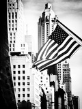 Architecture and Buildings, Skyscrapers View, American Flag, Midtown Manhattan, NYC, Old Photographic Print by Philippe Hugonnard