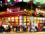 Urban Lifestyle Scene, Subway Station at Times Square, 42St, Manhattan, NYC, US, USA, Sunset Colors Photographic Print by Philippe Hugonnard
