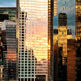 Reflection of the Sunset on the Windows of Buildings at Manhattan, Times Square, NYC, US, USA Photographic Print by Philippe Hugonnard