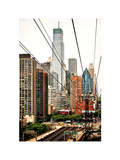 Roosevelt Island Tram Station (Manhattan Side), Manhattan, New York, White Frame, Vintage Photographic Print by Philippe Hugonnard