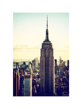 Empire State Building from Rockefeller Center at Dusk, Manhattan, NYC, White Frame, Vintage Photographic Print by Philippe Hugonnard