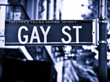 Urban Sign, Gay Street, Greenwich Village District, Manhattan, New York, Blue Light Photography Photographic Print by Philippe Hugonnard