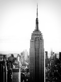 Empire State Building from Rockefeller Center at Dusk, Manhattan, NYC, US, Old Black and White Photographic Print by Philippe Hugonnard
