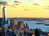One World Trade Center (1WTC) at Sunset, Hudson River and Statue of Liberty View, Manhattan, NYC Photographic Print by Philippe Hugonnard