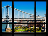 Window View, Special Series, Manhattan Bridge, East River, Brooklyn, New York, United States Photographic Print by Philippe Hugonnard