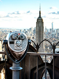 Telescope on the Obervatoire Deck, Top on the Rock at Rockefeller Center, Manhattan, New York Photographic Print by Philippe Hugonnard