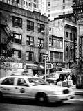 Urban Scene, Yellow Taxi, 34th St, Downtown Manhattan, New York, US, Black and White Photography Photographic Print by Philippe Hugonnard