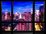 Window View, Theater District and Times Square Views at Pink Night, 42 Street, Manhattan, NYC Photographic Print by Philippe Hugonnard