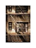 Fire Escape, Stairway on Manhattan Building, NYC, US, White Frame, Full Size Photography, Vintage Photographic Print by Philippe Hugonnard