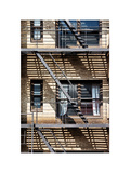 Fire Escape, Stairway on Manhattan Building, New York City, US, White Frame, Full Size Photography Photographic Print by Philippe Hugonnard