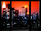 Window View, Empire State Building and New Yorker Hotel Views, Midtown Manhattan, NYC Photographic Print by Philippe Hugonnard