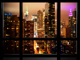 Window View, Atmosphere Foggy, Times Square, Midtown Manhattan, NYC Photographic Print by Philippe Hugonnard