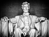 Statue of Abraham Lincoln, Washington D.C, District of Columbia, White Frame, White Frame Photographic Print by Philippe Hugonnard
