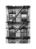 Fire Escape, Stairway on Manhattan Building, New York, White Frame, Full Size Photography Fotodruck von Philippe Hugonnard