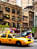Urban Scene, Yellow Taxi, 34th St, Downtown Manhattan, New York, United States Photographic Print by Philippe Hugonnard