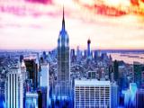 Urban Stretch Series, Fine Art, Skyline, Sunset, Empire State Building, Manhattan, NYC, US Photographic Print by Philippe Hugonnard