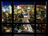 Window View, Special Series, Skyline by Night, Manhattan, New York City, United States Photographic Print by Philippe Hugonnard