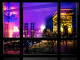 Window View, Haussmann Appartment Night in Paris, Place Charles De Gaule with the Arc De Triomphe Photographic Print by Philippe Hugonnard