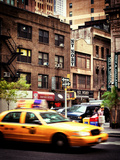 Urban Scene, Yellow Taxi, 34th St, Downtown Manhattan, New York, United States, Vintage Photographic Print by Philippe Hugonnard