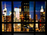 Window View, Skyscrapers View by Nightfall, Times Square, Midtown Manhattan, NYC Photographic Print by Philippe Hugonnard