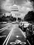 Bicycle Path Leading to the Capitol, US Congress, Washington D.C, District of Columbia Photographic Print by Philippe Hugonnard