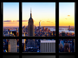 Window View, Empire State Building and One World Trade Center (1WTC) at Sunset, Manhattan, New York Reproduction photographique par Philippe Hugonnard