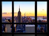 Window View, Empire State Building and One World Trade Center (1WTC) at Sunset, Manhattan, New York Fotografie-Druck von Philippe Hugonnard