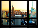 Window View, Special Series, Sunset, Empire State Building, Manhattan, New York, United States Photographic Print by Philippe Hugonnard