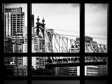 Window View, Ed Koch Queensboro Bridge, Roosevelt Island Tram Station, Manhattan, New York Photographic Print by Philippe Hugonnard
