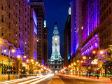 City Hall and Avenue of the Arts by Night, Philadelphia, Pennsylvania, United States Fotodruck von Philippe Hugonnard