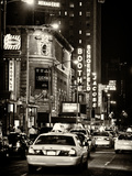 Urban Scene with Yellow Cab by Night at Times Square, Manhattan, NYC, US, Old Sepia Photography Photographic Print by Philippe Hugonnard