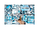Street Art, Billboards Blue Worn by Time in the Streets of Williamsburg, Brooklyn, New York Photographic Print by Philippe Hugonnard