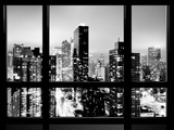 Window View, Urban Landscape by Night, Misty View, Times Square, Manhattan, New York Stampa fotografica di Philippe Hugonnard
