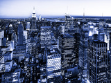 Skyscrapers View, Cityscape by Night, Manhattan, New York City, United States, Blue Photography Stampa fotografica di Philippe Hugonnard