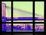 Window View, Special Series, Brooklyn Bridge, Sunset, Vintage, Manhattan, New York City, US Photographic Print by Philippe Hugonnard